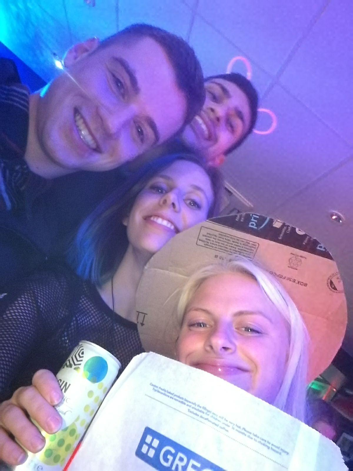 Nikki and her mates on their very own Greggs night, so jammy