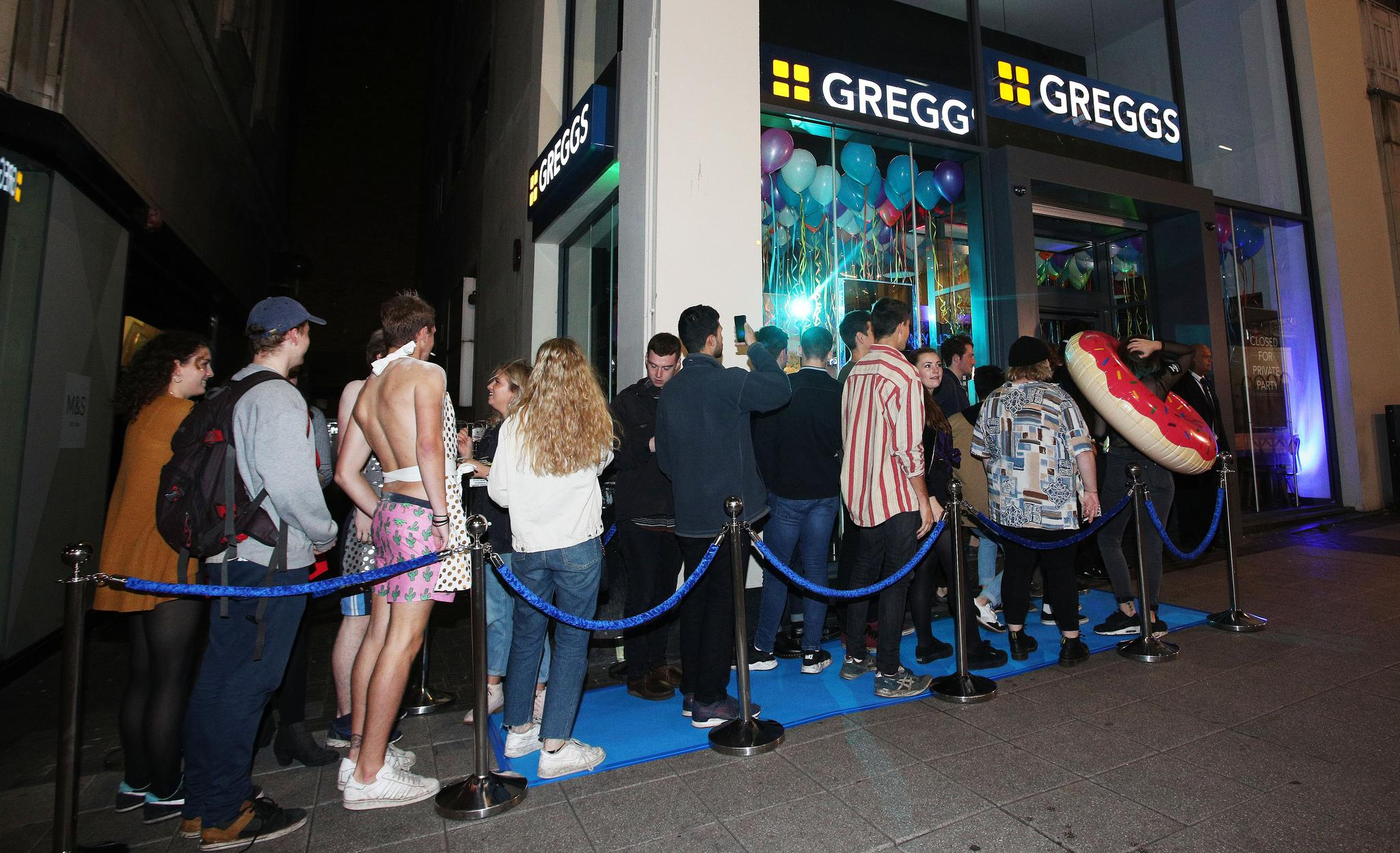 Tbf most Greggs have a queue outside of them, just not normally at night