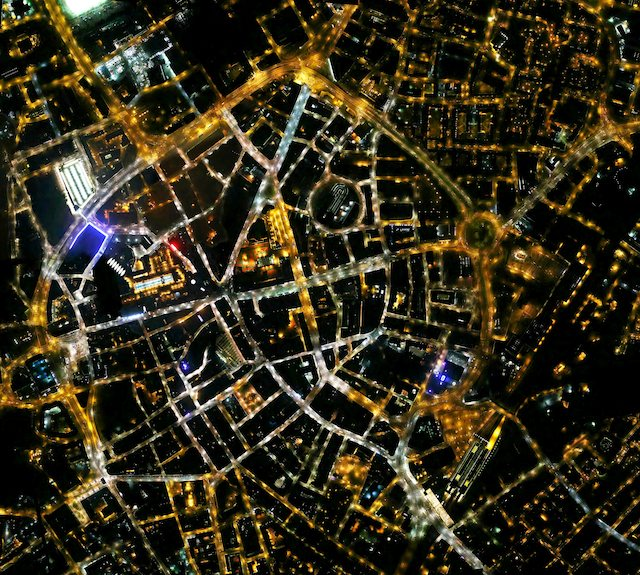 Company behind google maps highlight electricity wastage in leicester leicester city centre by night gumiabroncs Gallery