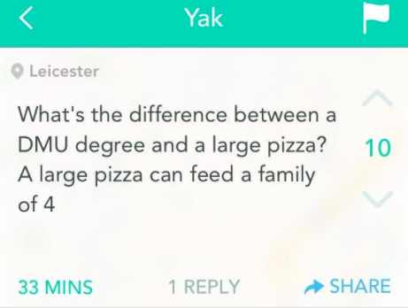 A DMU degree doesn't even come with garlic sauce