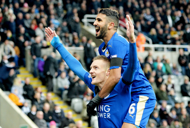 Vardy and Mahrez celebrating