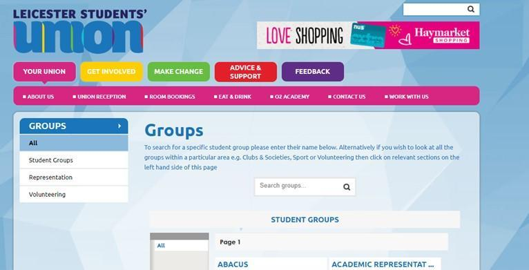The student union website is the place to go for all your social needs.