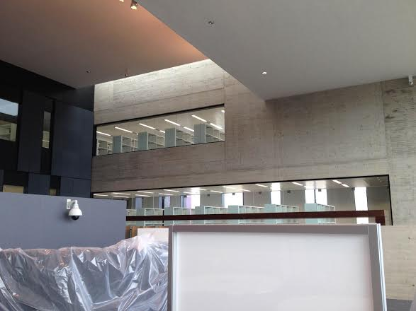 View of upper library levels from the busier group zone