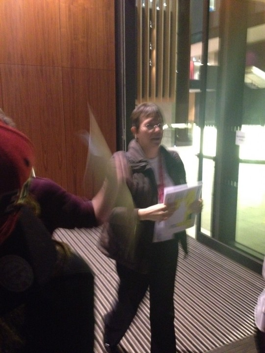 Librarians shout to tell students to move away from the building