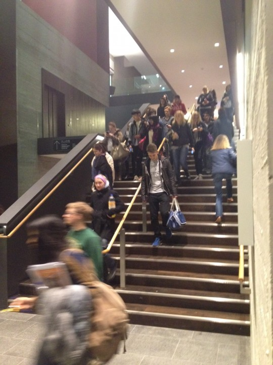 Students evacuating John Henry Brookes Building