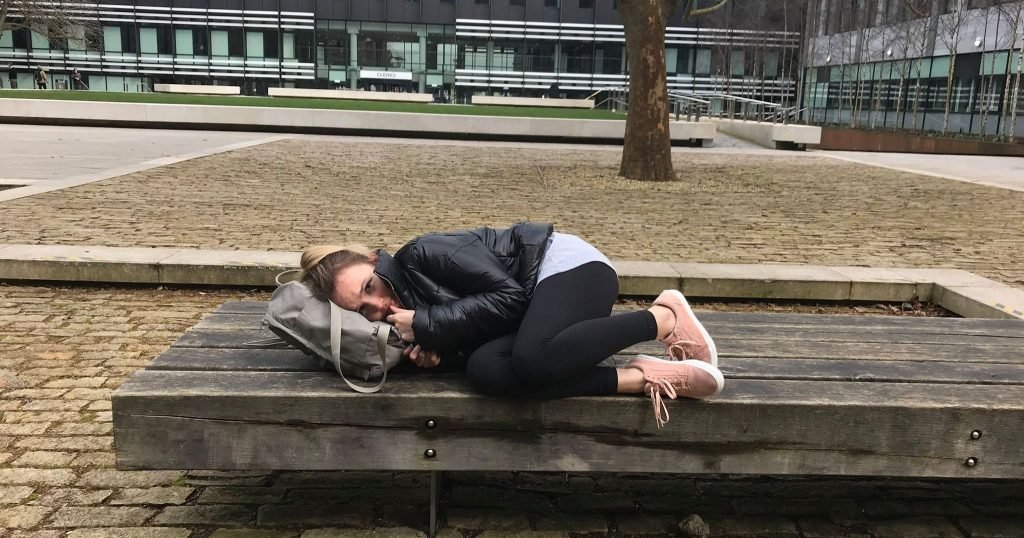 Image may contain: Bench, Make Out, Asleep