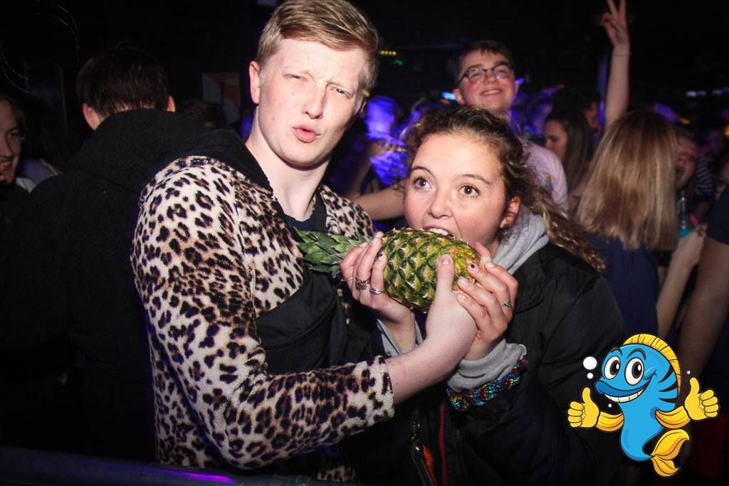 Image may contain: Food, Fruit, Night Club, Party, Club, Plant, Human, Person