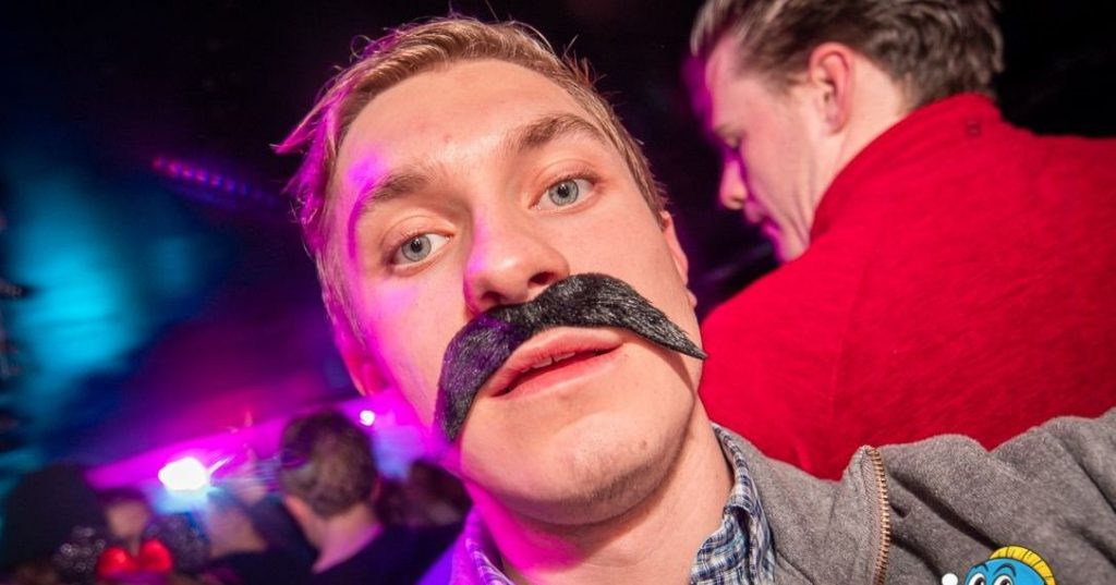 Image may contain: Portrait, Photo, Photography, Mustache, Party, Night Club, Face, Club, Human, Person