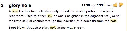 Glory hole urban dictionary