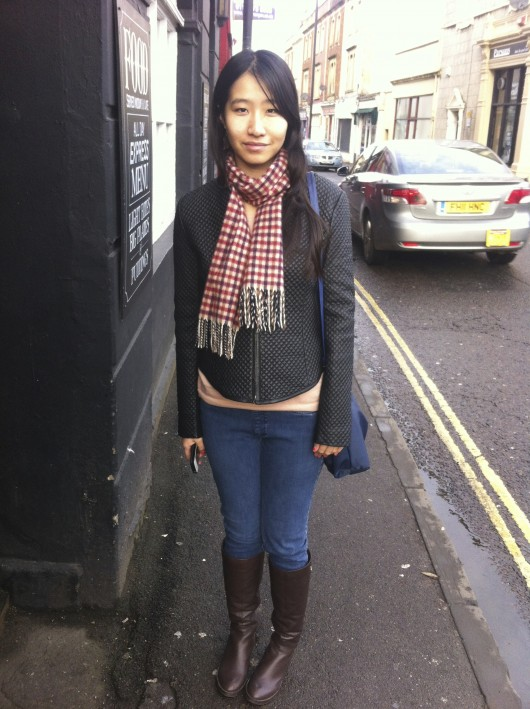 Gingham doesn't have to be restricted to summery cottons; Nancy's scarf shows us that it's a great transitional print.