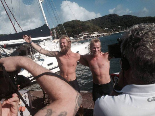Triumph: the two boys landed in Antigua nearly a month ago