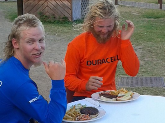 The boys grab a burger after eating dehydrated sachets of food for over 50 days!