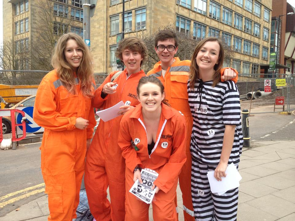 Delighted 1st- & 2nd-Year students promoting for the scandalous Itchy Feet