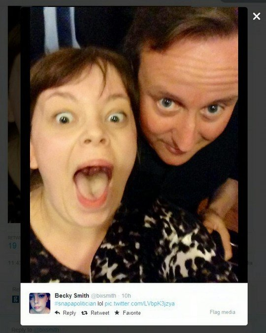 """""""He's all forehead"""": Becky Smith's selfie with the PM went viral within minutes"""