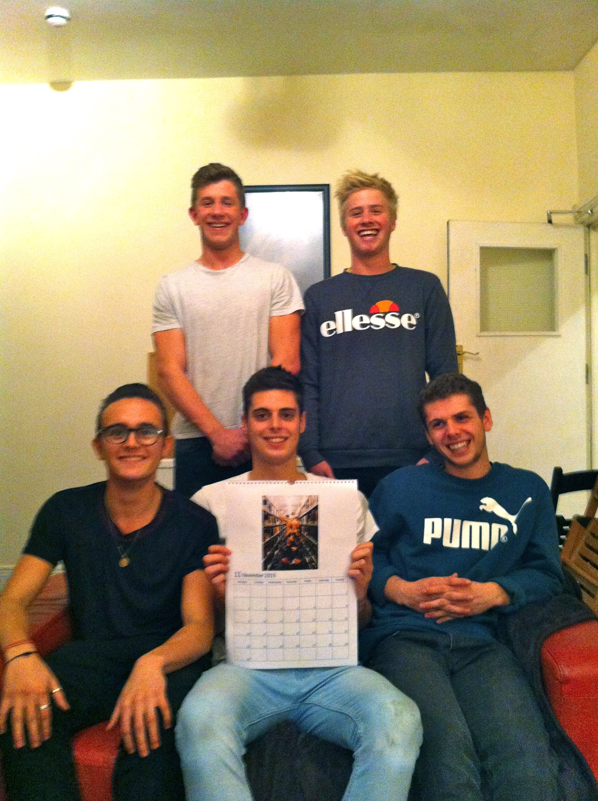 The boys with some clothes on. Back row (left to right): Rob, Ted. Front row (left to right): George, Will, Ollie.