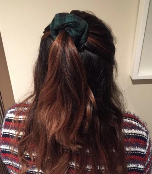 Bonus points if the scrunchie is velvet