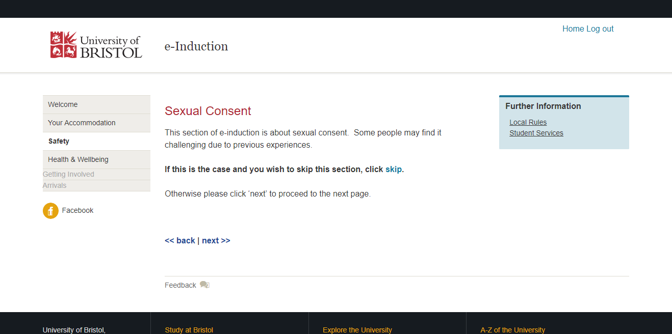 The online induction section about consent