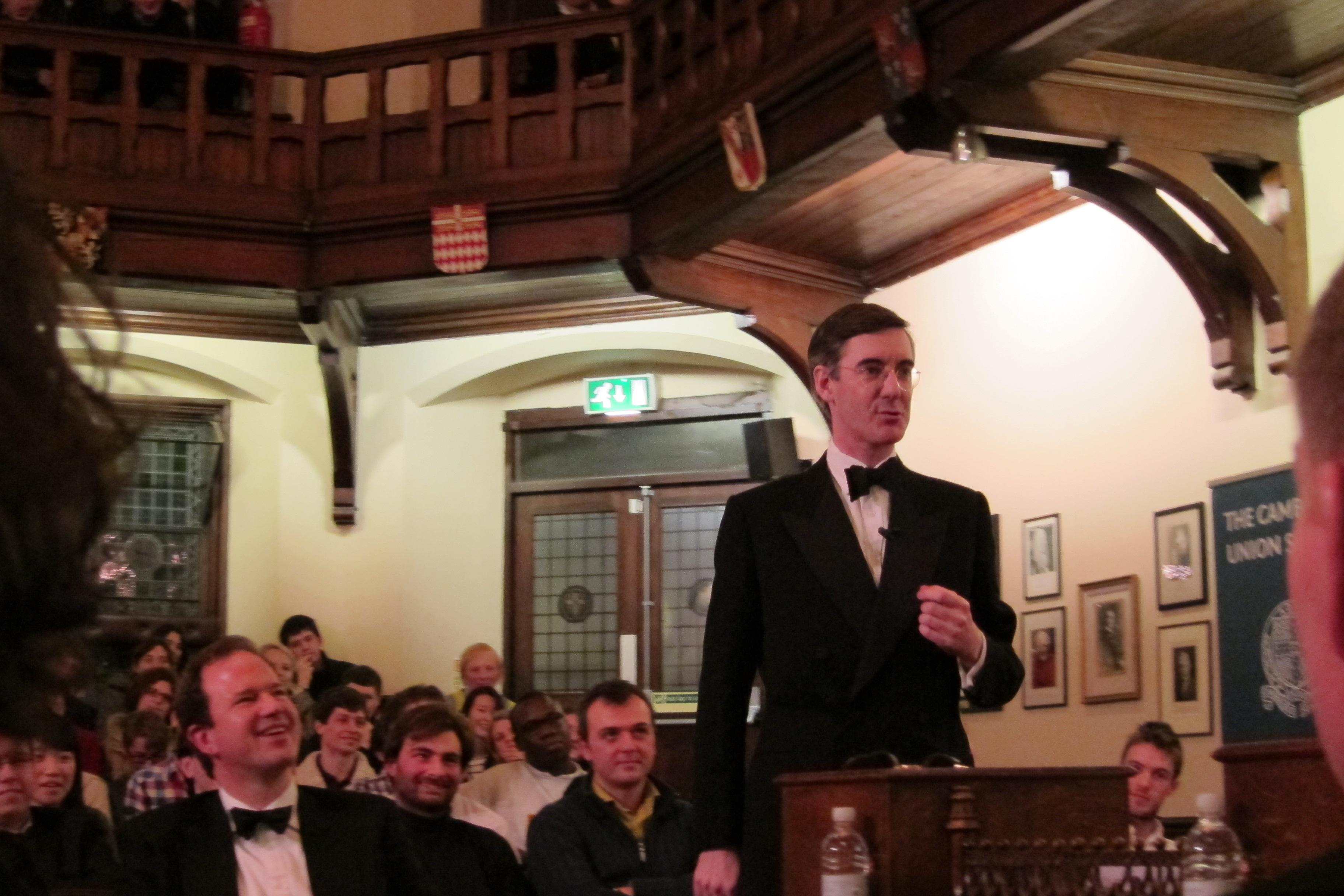 Rees-Mogg addressing the Cambridge Union in 2012. Credit: Cantab12