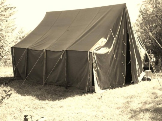 The Aberdeen Homeless Society remains optimistic of quality accommodation, with this dashing tent pictured in group as desperate yet borderline viable option