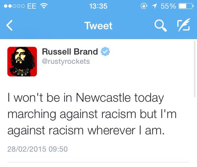 Russell Brand had been rumored to speak for the Newcastle Unites march