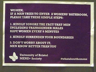 Anger in Bristol University at trans women using the ladies'