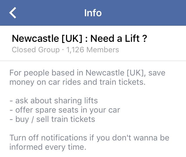 The Need a Lift page is a closed group so ask around for someone to invite you in!