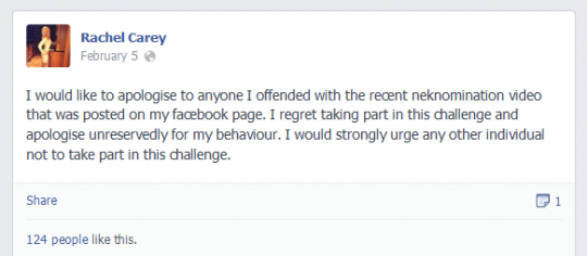 Carey's Facebook apology