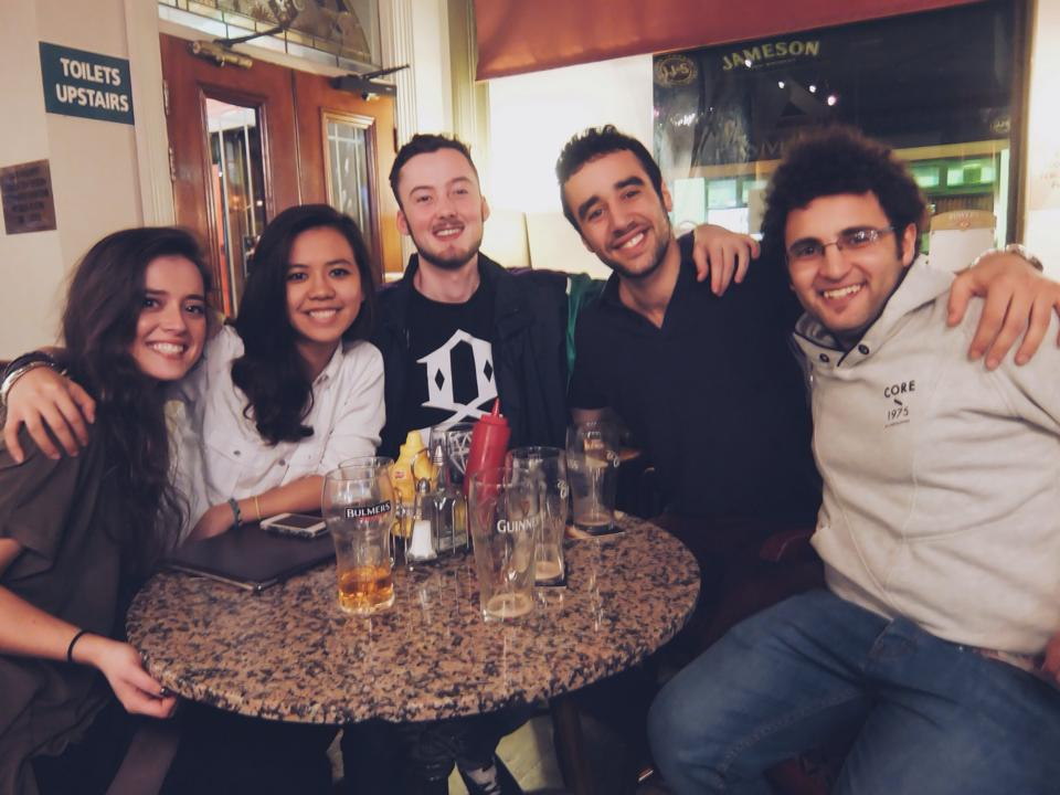 Kais and friends, with Guinness