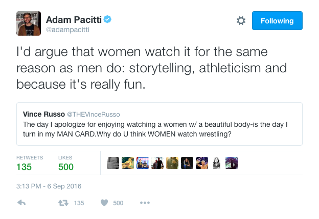 Adam Pacitti commenting on Vince Russo's rather ridicilous tweet