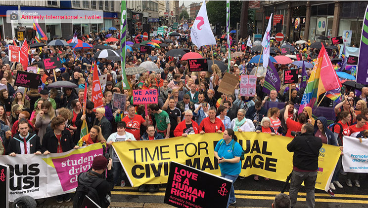 Belfast city centre during the march for equality