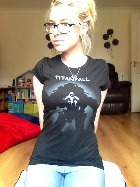 Rocking a Titanfall tee.