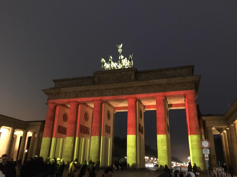 The Brandenburg Gate lit up in the colours of the German flag in honour of the Christmas market victims.
