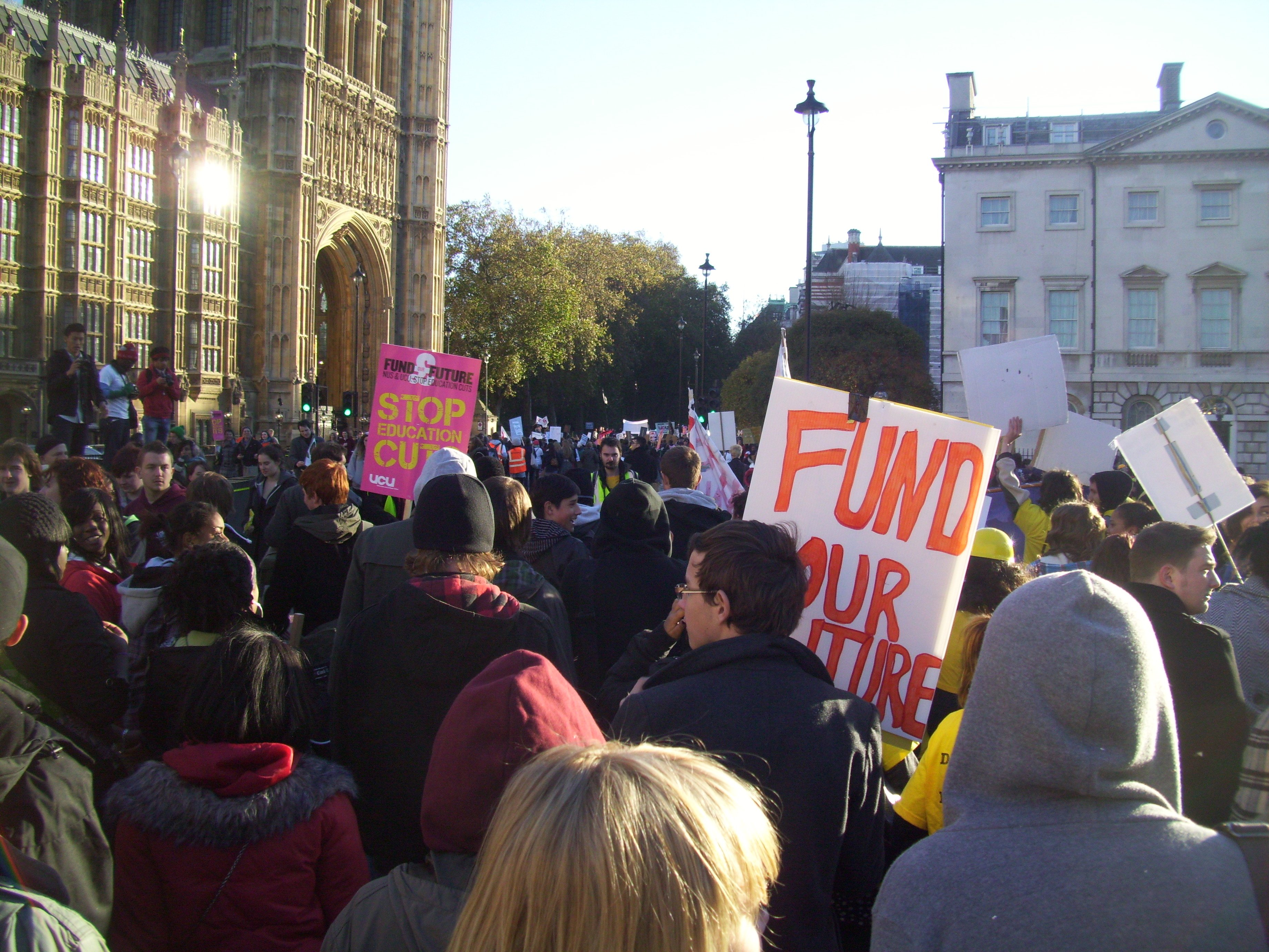 Tuition fee demonstrators marching through London in 2010