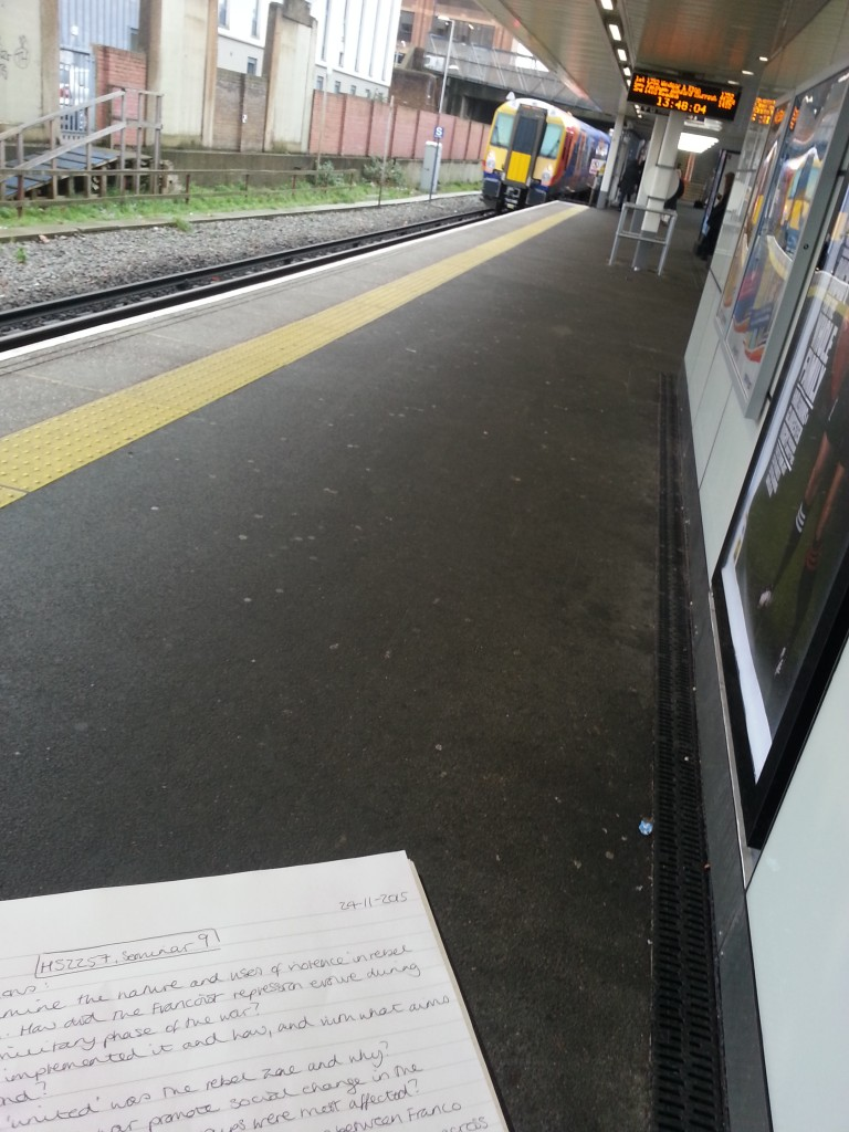 Mastering the art of preparing for seminars while waiting for the train.