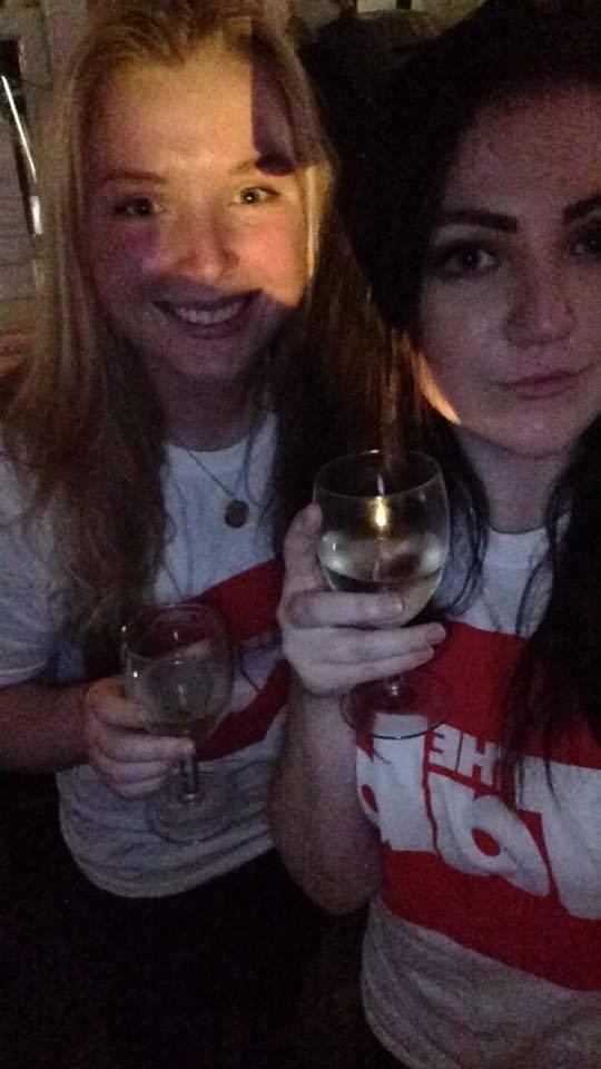 Talia (right) with news editor Amanda. And wine