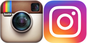 Instagram logo, old and new.