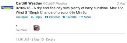 cardiff weather teweet 1