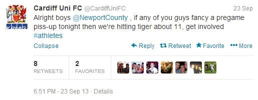 Pre game banter from the Cardiff boys