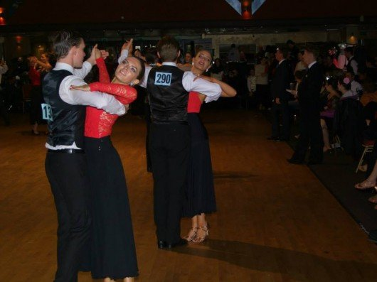 Findley Mostyn, Kate Barnaby, Olli Wannell and Shani Freeke performing the Beginners Waltz