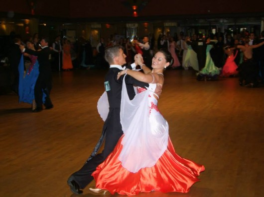 Team Captain Bethan Edwards and her partner Laurence Lovell performing the Waltz