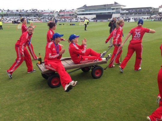 England's women celebrate a win in last summer's series. They repeated that feat again this winter.