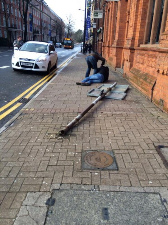 Fallen sign on Westgate Street