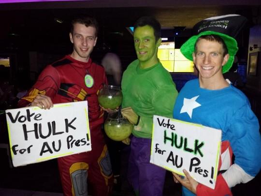 Bryncredible Hulk and his posey enjoying the Hulk fishbowl at Varsity.