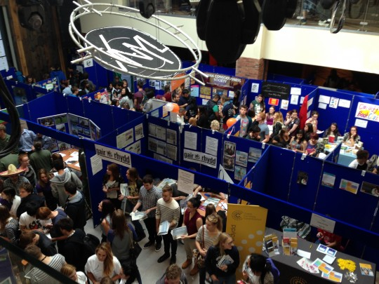 The rest of the freshers fayre continues, ignorant of the political fury going on outside.