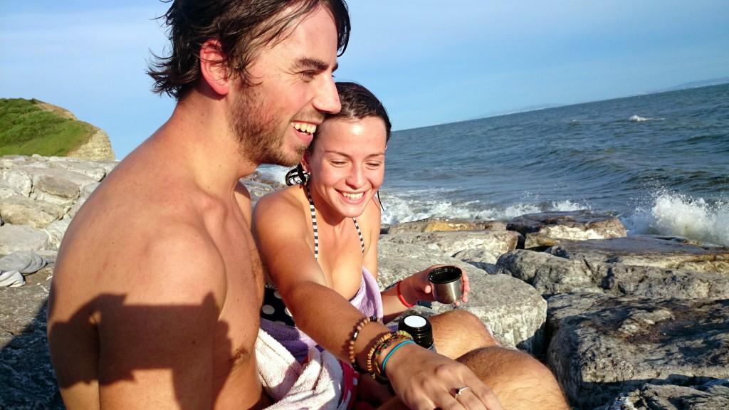 Inquest into the death of Georgie Ford 23, who was killed by a cliff rockfall was having a beach picnic to celebrate finishing her exams. Pictured here is Georgie with her heartbroken boyfriend Paul Biggs, 24 on Llantwit beach where the tragedy happened. © WALES NEWS SERVICE