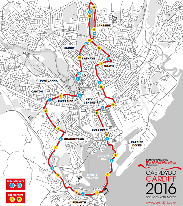 Route for Cardiff 2016 race