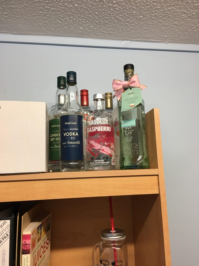 The all important alcohol shelf