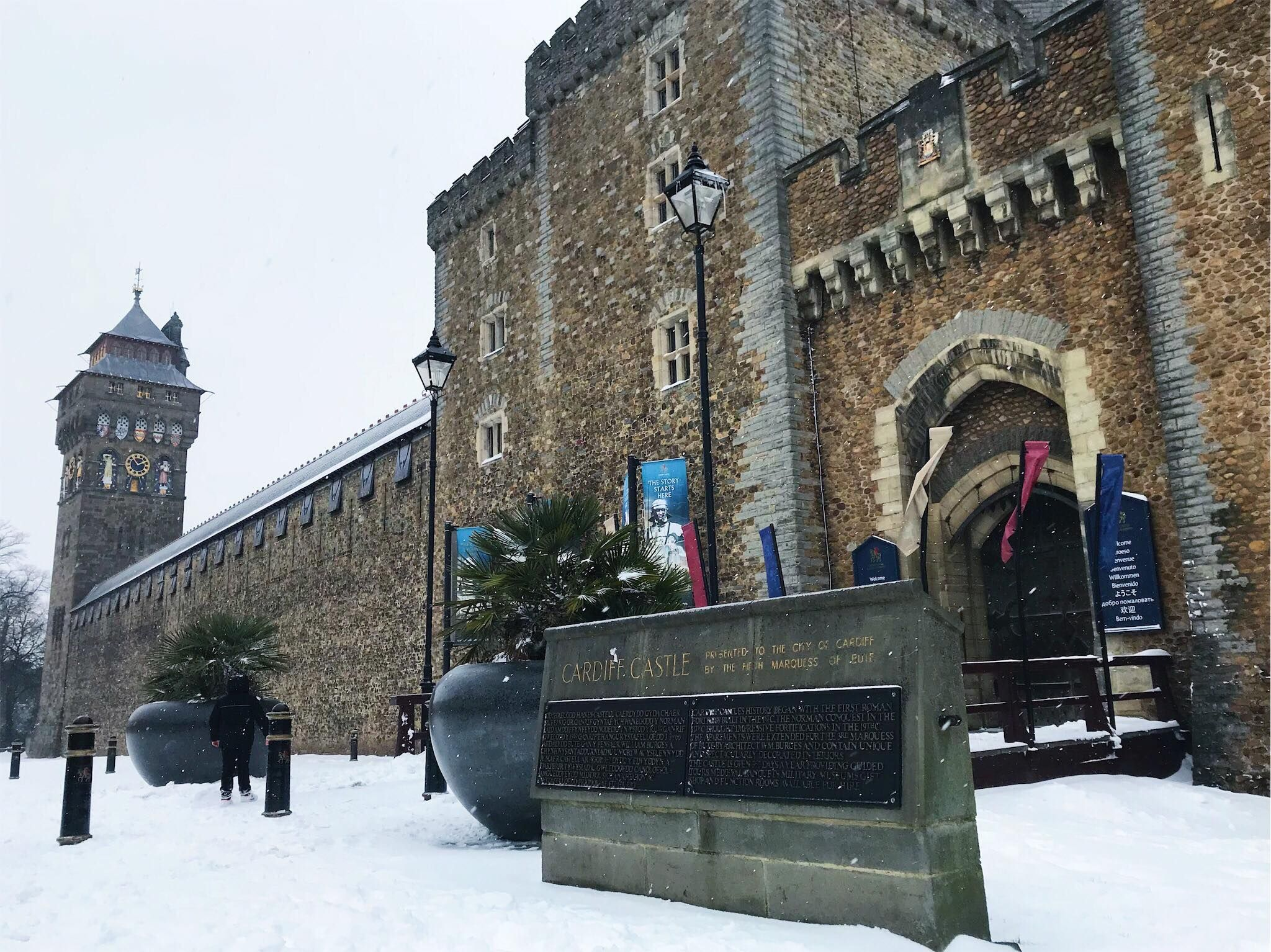 Image may contain: Snow, Outdoors, Castle, Clock Tower, Tower, Building, Architecture