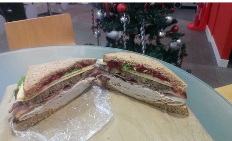 Image may contain: Food, Sandwich