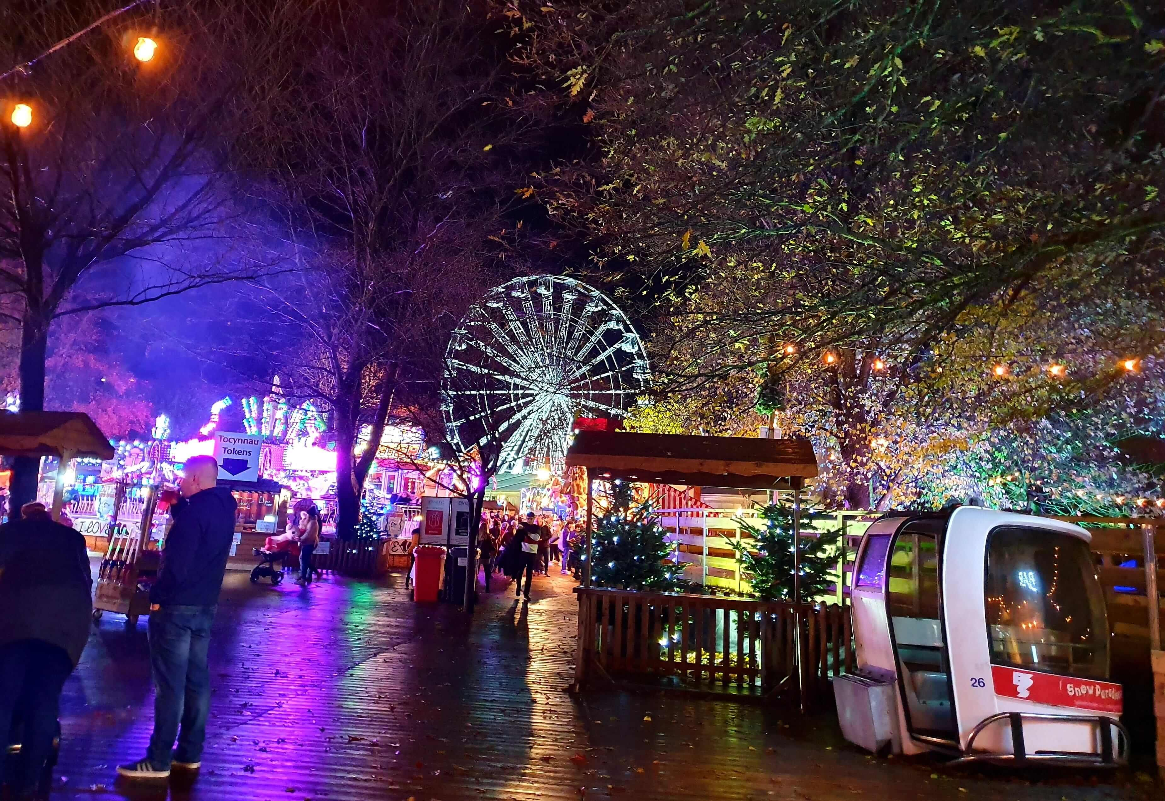Image may contain: Light, Ferris Wheel, Shoe, Apparel, Footwear, Clothing, Lighting, Crowd, Festival, Amusement Park, Theme Park, Human, Person